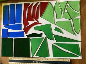 Stained Glass Offcuts 30 Pieces Greens, Blue and Red
