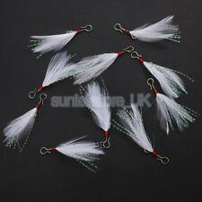 10 x Mackeral Mackerel Sea Fishing Feathers Rig Jig Lures White
