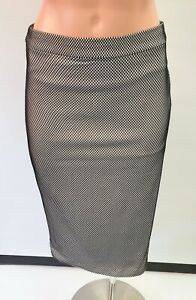 ❤️ BARDOT Cocktail Mesh Pencil Skirt Black White Size 8 Buy7=FreePost L896