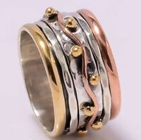 Solid 925 Sterling Silver Meditation Ring Statement Ring Spinner Ring Size sr666