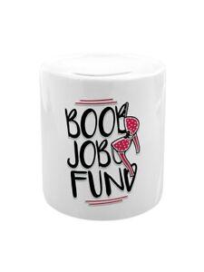 Money Box Boob Job Fund White 7.5 x 9cm