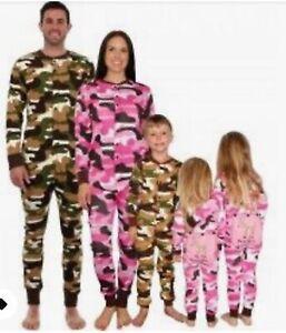 Family mens ladies kids baby all in one pyjama loungewear flapjack camo RRP £40