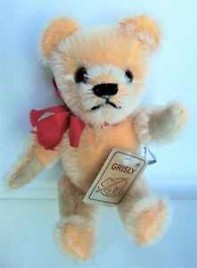 """Vintage GRISLY 7"""" Peach / Orange Mohair Bear, Made in West Germany 400/15"""