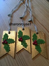 3 X Holly Christmas Gift Tags Decorations Parcel Present Tag Handmade Gold Twine