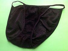 Women Panties,string Bikinis Size S/5 Small Black Net Polyester