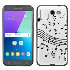 For Samsung Galaxy J3 Luna Pro / Eclipse TPU Case (Black) - Music Notes / White