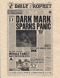 Harry Potter The Daily Prophet Dark Mark Sparks Panic Flyer Prop/Replica