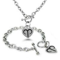 Stainless Steel Astrology Zodiac Dark Symbol Heart Charm Bracelet, Necklace, Set
