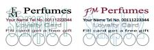 FM Perfume Distributors Loyalty Cards 50 Designed Personalised Printed z