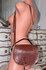 Genuine Vintage brown thick leather cross over body shoulder bag