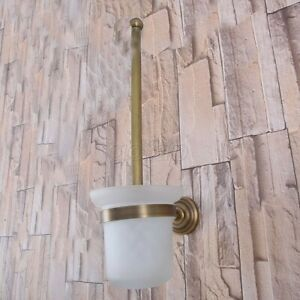 Antique Brass Wall Mounted Bathroom Toilet Cleaning Brush and Holder Set Gba735