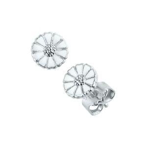 Georg Jensen. Daisy Earrings. Sterling Silver with white Enamel 7 mm.