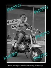 OLD LARGE HISTORIC PHOTO OF HONDA MINIBIKE MOTORCYCLES ADVERTISMENT c1975 1