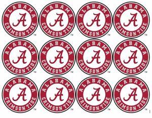 "Alabama Crimson Tide Cupcake Toppers Edible Image 2"" Frosting Circles"