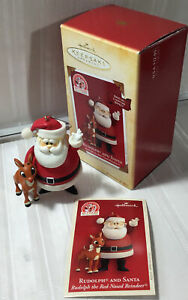 Hallmark 2004 RUDOLPH AND SANTA the Red Nosed Reindeer Lighting Effect Ornament