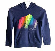 Cat & Jack Girls Multi-Color Hoodie Size M 7-8 Rainbow Blue Sweatshirt