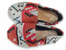 TOMS Sweater Knit Taupe Red Aztec Tribal Slip On Shoe SIZE 6