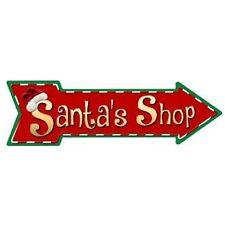 """Outdoor/Indoor Christmas Santa's Shop Novelty Metal Arrow Sign 5"""" x 17"""""""