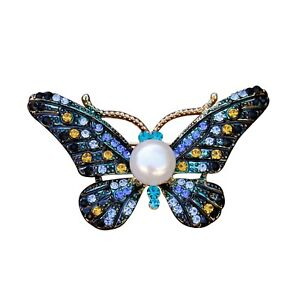Amazing 9mm White freshwater pearl Dripping oil Butterfly Brooch Pendant BH66