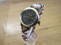 BRAND NEW LADIES KAHUNA WATCH ROUND BROWN DIAL AZTEK FRIENDSHIP STRAP KLF0022L