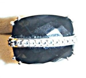 *EXQUISITE FACETED LARGE BLACK STONE DIAMANTE SILVER 925 RING SIZE BETWEEN N & O