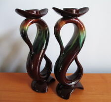 Rainbow Pottery CCC Candle Stick Holder x 2 Brown Green Flame Glaze Tall 8 1/4""