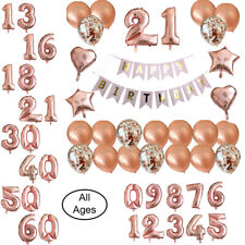 ROSE GOLD HAPPY BIRTHDAY BUNTING BANNER FOIL BALLOONS NUMBERS DECORATIONS SET