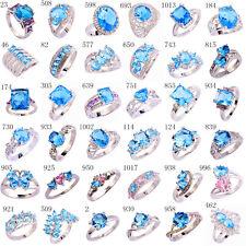 Women Men Purple & Pink & White & Blue Topaz Gems Silver Jewelry Ring Sz 6 - 13