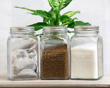 3 X BARATTOLI per lo stoccaggio quadrato di vetro Coperchi Tè Caffè Zucchero Barattoli Cucina Contenitori