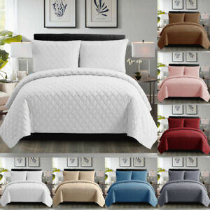 3 Piece Embossed Inspiration Bedspread Quilted Bed Throw Set Single Double King