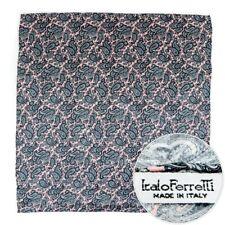 """ITALO FERRETTI Gray Pink Silk Square 19"""" Silk Pocket Square Ascot Handkerchief"""