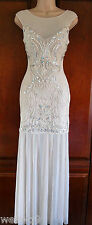 Lipsy VIP ASOS Embllished Lace Embroidered Sheer Hem Maxi  Wedding Dress New Sz8