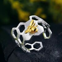 Real 925 Sterling Silver Natural Handmade Fine Jewelry Honeycomb Gold Bee Ring