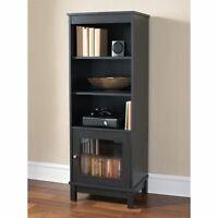 Media Audio Storage Bookcase Tower Cabinet Adjustable Shelves Entertainment Unit