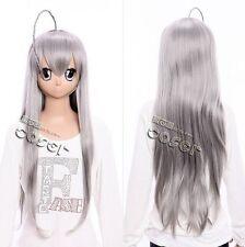 W-90 Haiyoru! Nyaruko-san COSPLAY Perücke Wig hitzefest grau grey 75cm Haar