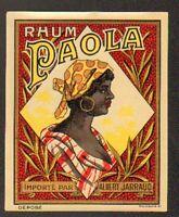 """COGNAC (16) ETIQUETTE de RHUM PAOLA de La Réunion """"Ets. Albert JARRAUD"""" 9,5x11,8"""