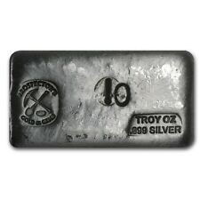 10 oz Silver Prospector's Gold & Gems Bar - Poured Bar - SKU #69453