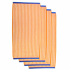 "Set of 4 Orange Thin Stripe Cabana Towels (100% Cotton, 30"" x 60"", Gsm 425)"