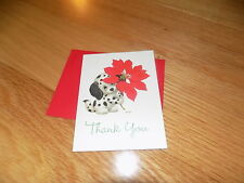 VTG Thank You Card Little Puppy Poinsettia Christmas Current Morehead NEW