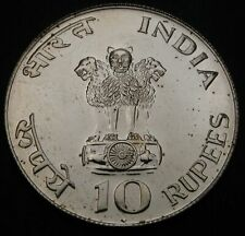 INDIA 10 Rupees ND(1969) - Silver - Mahatma Gandhi's Birth - aUNC - 2903