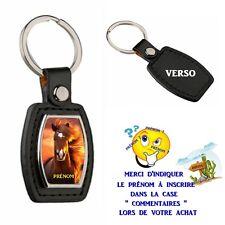 porte clé simili cuir cheval personnalisé avec prénom au choix réf 01
