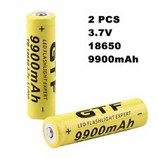 2pcs 3.7v 18650 9900mah Li-ion Rechargeable Battery for LED Flashlight Torch SY