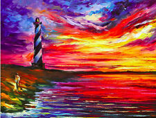 """Lighthouse — Palette Knife Oil Painting On Canvas By Leonid Afremov SIZE:30""""x24"""""""