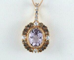 "LeVian 14K Rose Gold Amethyst Smoky Quartz White Sapphire 18"" Necklace Pendant"