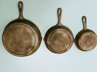 1950's LODGE CAST IRON Skillet Frying Pans 3 SK 5D, 5 SK D, 8 SK D2 vtg qty 3 B2