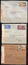PALESTINE 1942 US THREE WAR TIME BRITISH CENSOR LABEL COVER ALL TO NEW YORK