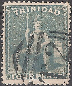 Trinidad 1872 Britannia 4p Grey Used (SC# 51)