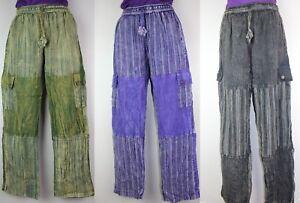 S-5XL UNISEX Cotton Trousers Hippy Boho Yoga Pants Wide Festival Casual HT16