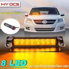 8 LED Car Truck Dash Strobe Flash Light Emergency Police Warning 3 Mode Amber Y