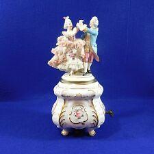 Vintage Dresden Music Box Lace Ballerina Figurine Woman Man Dancers Alka As-Is